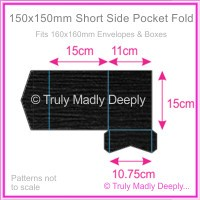 150mm Square Short Side Pocket Fold - Keaykolour Original Jet Black Ripple