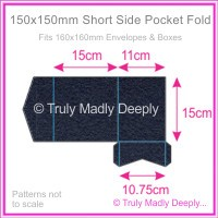150mm Square Short Side Pocket Fold - Keaykolour Original Navy Blue