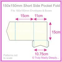 150mm Square Short Side Pocket Fold - Keaykolour Original Pure White
