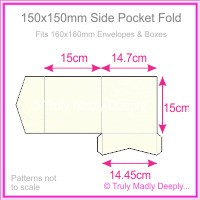 150mm Square Side Pocket Fold - Keaykolour Original Pure White