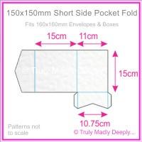150mm Square Short Side Pocket Fold - Knight White Hammer