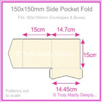150mm Square Side Pocket Fold - Metallic Pearl Pale Buff