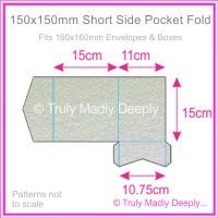 150mm Square Short Side Pocket Fold - Metallic Pearl Silver