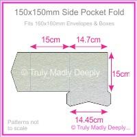 150mm Square Side Pocket Fold - Metallic Pearl Silver