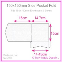 150mm Square Side Pocket Fold - Metallic Pearl White