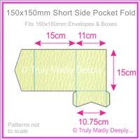 150mm Square Short Side Pocket Fold - Mohawk Via Felt Cream