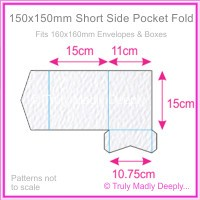 150mm Square Short Side Pocket Fold - Mohawk Via Felt Bright White