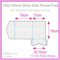 150mm Square Short Side Pocket Fold - Pearl Textures Collection Embossed Canvas