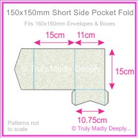 150mm Square Short Side Pocket Fold - Pearl Textures Collection Embossed Satin