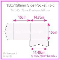 150mm Square Side Pocket Fold - Semi Gloss White 315gsm