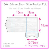 150mm Square Short Side Pocket Fold - Semi Gloss White Lumina