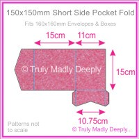 150mm Square Short Side Pocket Fold - Stardream Metallic Azalea