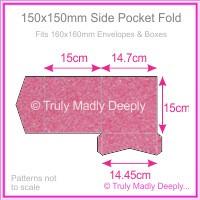150mm Square Side Pocket Fold - Stardream Metallic Azalea