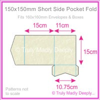 150mm Square Short Side Pocket Fold - Stardream Metallic Quartz