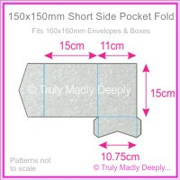 150mm Square Short Side Pocket Fold - Stardream Metallic Silver