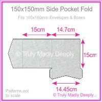150mm Square Side Pocket Fold - Stardream Metallic Silver