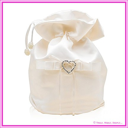 Wedding Bridal Bag - Ivory Heart Diamante Buckle