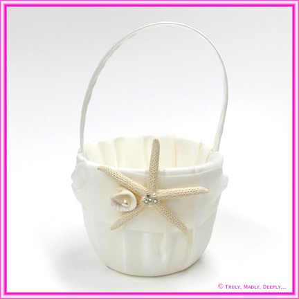 Wedding Flower Basket - Ivory with Starfish & Shell