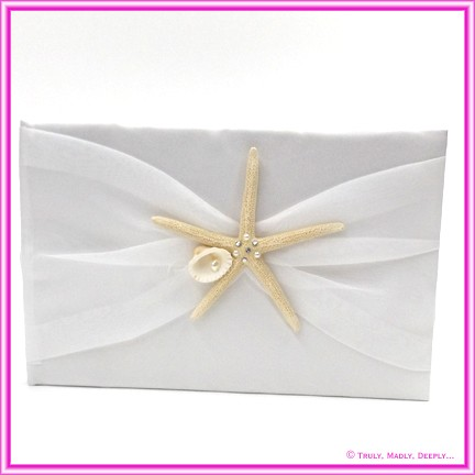 Wedding Guest Book - Ivory Starfish and Shell