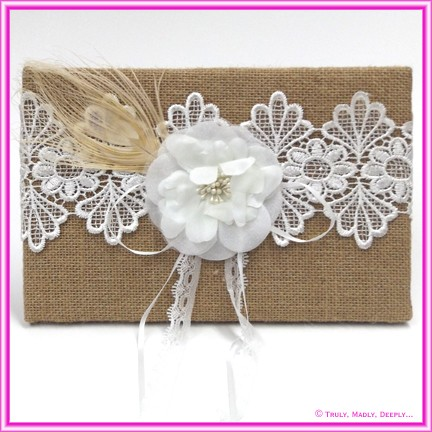 Wedding Guest Book - Hessian, Lace and Flower