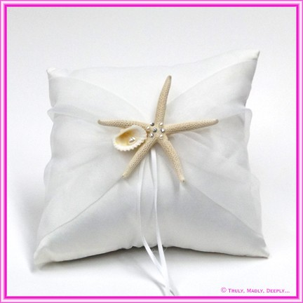 Wedding Ring Cushion - Starfish, Shell and Pearls
