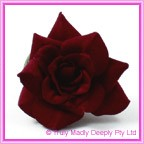 Artificial Flower Heads Velvet Rose Deep Red - Box of 9