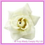 Artificial Flower Heads Velvet Rose White/Ivory - Box of 9