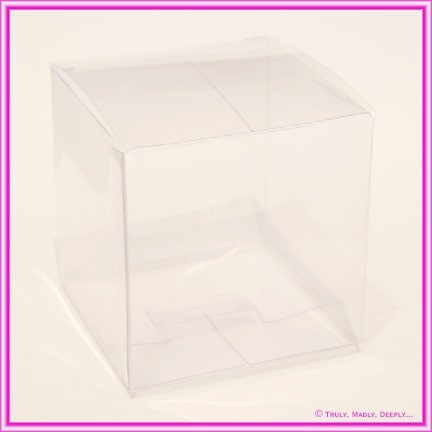 Bomboniere Box Clear Cube 60x60x60mm with Silver Base