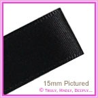 Double Sided Satin Ribbon 40mm - Black - 25Mtr Roll