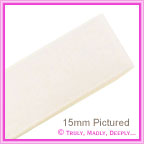 Double Sided Satin Ribbon 15mm - Bridal White - 25Mtr Roll