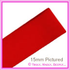 Double Sided Satin Ribbon 15mm - Flame Red - 25Mtr Roll