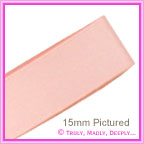 Double Sided Satin Ribbon 15mm - Light Pink - 25Mtr Roll