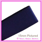 Double Sided Satin Ribbon 15mm - Navy - 25Mtr Roll