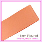 Double Sided Satin Ribbon 15mm - Peach - 25Mtr Roll