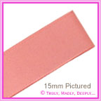 Double Sided Satin Ribbon 15mm - Rose Pink - 25Mtr Roll