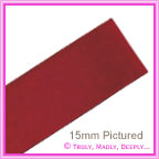 Double Sided Satin Ribbon 15mm - Wine Red - 25Mtr Roll