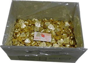 Foil Wrapped Chocolate Hearts - Gold - 5kg (approx 620)