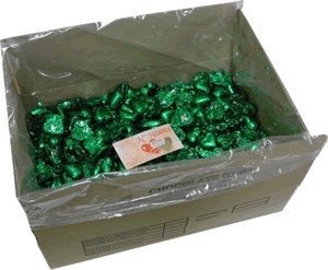 Foil Wrapped Chocolate Hearts - Green - 5kg (approx 620)