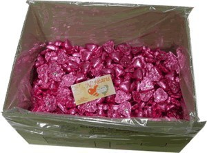 Foil Wrapped Chocolate Hearts - Pink - 5kg (approx 620)