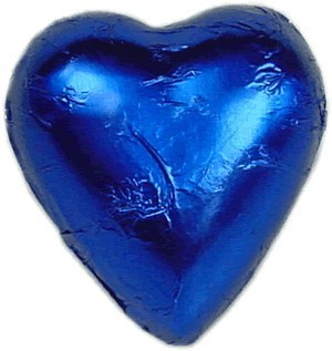 Foil Wrapped Chocolate Hearts - Blue - Each
