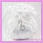 Wedding Bridal Bag - White Square Diamante Buckle