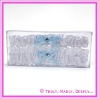 Wedding Garter - White with Blue Ribbon Double Pack (Throw Away)