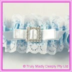 Wedding Garter - Blue Square Diamante Buckle