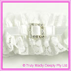 Wedding Garter - White Square Diamante Buckle