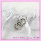Wedding Garter - Silver Hearts on Satin