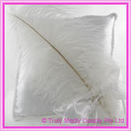 Wedding Ring Cushion - Large White Feather