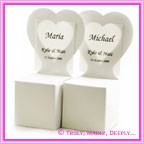 Bomboniere Heart Chair Box - Metallic Pearl Bridal White