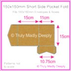 150mm Square Short Side Pocket Fold - Buffalo Kraft Board 283gsm