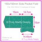 150mm Square Side Pocket Fold - Classique Metallics Turquoise