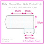 150mm Square Short Side Pocket Fold - Cottonesse Bright White 360gsm